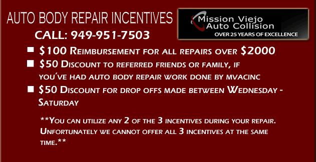 Orange County Auto Body Repair Specials - Mission Viejo Auto Collision