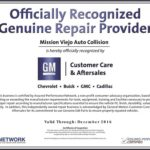 Mission Viejo Auto Collision is General Motors Genuine Repair Provider Certified_500x379