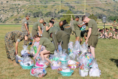 Easter baskets for our military women and men at Camp Pendelton