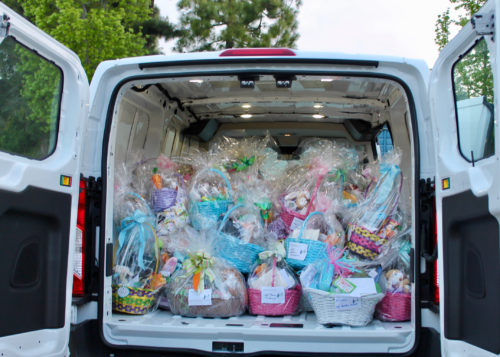 Mission Viejo Auto Collision Easter Van filled with Easter baskets